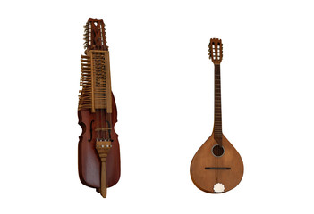 Mittelalterliche Musikinstrumente Nyckelharpa und Irish bouzouki über dem weißen Hintergrund