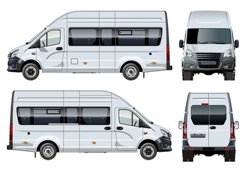 Vector van template isolated on white. Side, front and back view. Available EPS-10 separated by groups and layers with transparency effects for one-click repaint