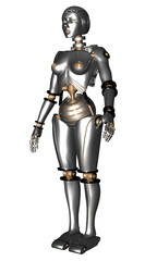 female robot or android standing, science fiction scene.