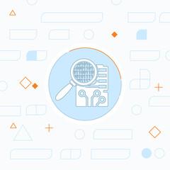 Circuit board inspection flat icon. Digital service vector illustration