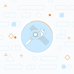 Space satellite inspection flat icon. Digital science vector illustration