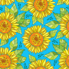 Vector seamless pattern with outline open Sunflower or Helianthus flower in yellow and green leaves on the blue background. Floral pattern with ornate Sunflowers in contour style for summer design.