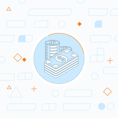 Cash illustration. Paper money with coins vector flat icon