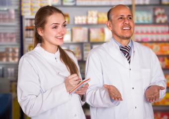 pharmacist and pharmacy  in drugstore