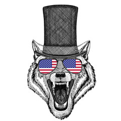 Wolf Dog Wild animal wearing cylinder top hat and glasses with usa flag United states of America flag