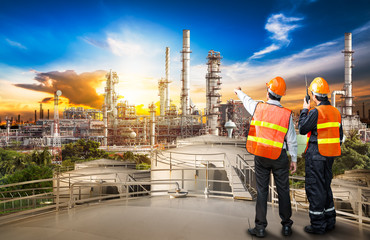 Engineer survey of oil refiner