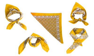 Yellow kerchief-bandana with a pattern, isolated