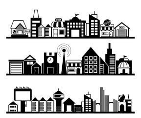 city skyline, city scape set, vector illustration