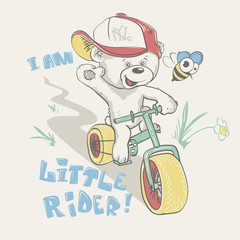 Cool little bear in cap on bicycle cartoon hand drawn