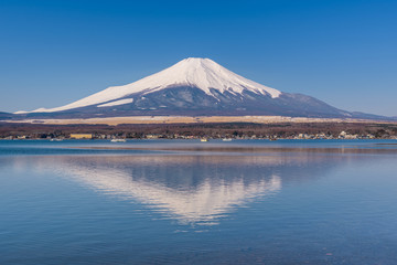 Acrylic Prints Reflection Lake Yamanaka in sunny day with Mt. Fuji, Yamanashi, Japan