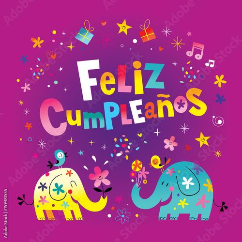 Feliz Cumpleanos Happy Birthday In Spanish Greeting Card With Cute