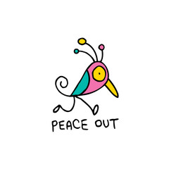 peace out - slang meaning goodbye with cute bird character