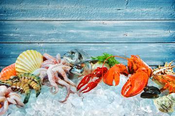 Fresh seafood on crushed ice