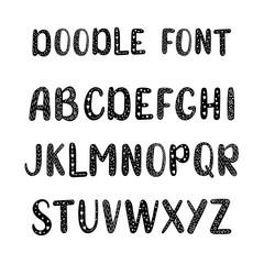 Vector font, cartoon doodle alphabet