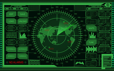 Digital green radar screen with world map, targets and futuristic user interface on dark background