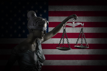 Lady Justice on flag of US background