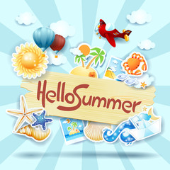 Summer background with sign and icons