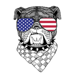 Bulldog  Hand drawn vintage image for t-shirt,  tattoo, emblem,