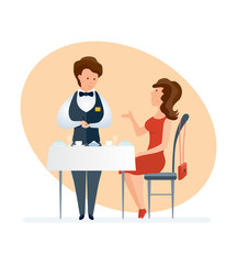 Fashionable girl visits restaurant, orders dishes, waiter serves customer.