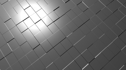 Abstract 3D render square pattern floor with reflection light