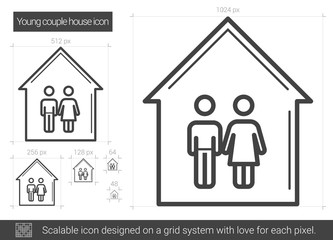 Young couple house vector line icon isolated on white background. Young couple house line icon for infographic, website or app. Scalable icon designed on a grid system.