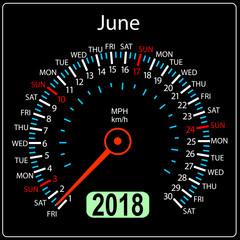 Year 2018 calendar speedometer car in concept. June