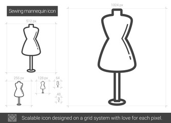 Sewing mannequin vector line icon isolated on white background. Sewing mannequin line icon for infographic, website or app. Scalable icon designed on a grid system.