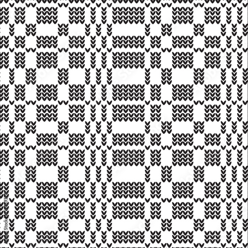Black And White Striped Grid Knitting Pattern Background Stock
