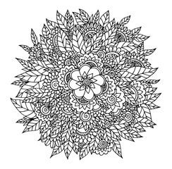 Vector illustration zentang ornament from flowers. The work is done manually. Meditative exercises. Coloring book for adults and children. Black and white.