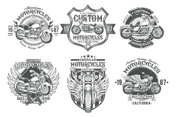 Set vector black vintage badges, emblems with a custom motorcycle. Print, template, advertising design element for the motor club, motorcycle repair shop