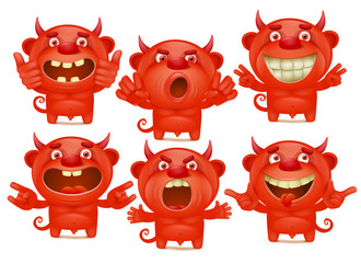Red devil cartoon characters in different emotions emoji set