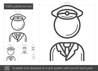 Traffic policeman line icon.