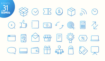 Modern media web and mobile app thin line icons collection. Business