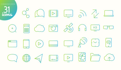 Modern media web and mobile app thin line icons collection. Communication