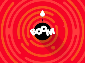 Radial comics style cartoon banner. Explosion vector background. Flat bomb with fire burning wick. Red, white, black color