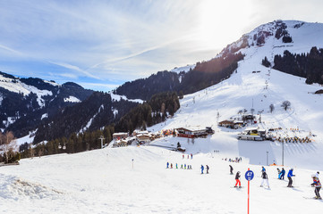 Skiers on the slopes of the ski resort of Soll, Tyrol, Austria