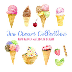 Ice cream watercolor illustration, ice cream watercolor clip art, ice cream painting, watercolor, food collection