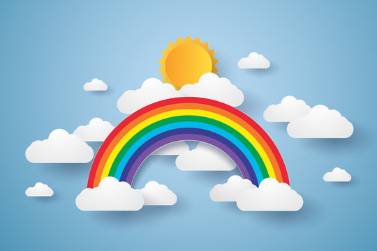 Blue sky with rainbow and cloud , paper art style