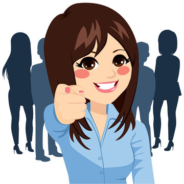 Beautiful young happy businesswoman pointing her finger at you we are hiring concept