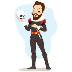 Male artist actor playing Hamlet holding skull