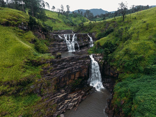 aeral view of Waterfall in the Hill Country in central Sri Lanka