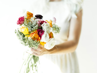 Woman holding bouquet