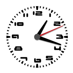 Simple black and white clock sixth edition