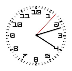 Simple black and white clock twelfth edition