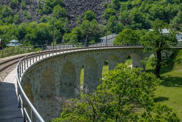 Circular viaduct bridge near Brusio on the Swiss Alps - 3