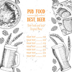 Pub food menu vector illustration. Beer, smoked pork shank, roast beef hand drawn. Food set for pub design top view. Vintage engraved illustration for beer restaurant