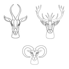 Decorative Gazelle, deer, ram graphic hand drawn vector cartoon doodle illustration, wild animal with curved horns isolated, mascot head, Character design for greeting card, logo icon, baby shower