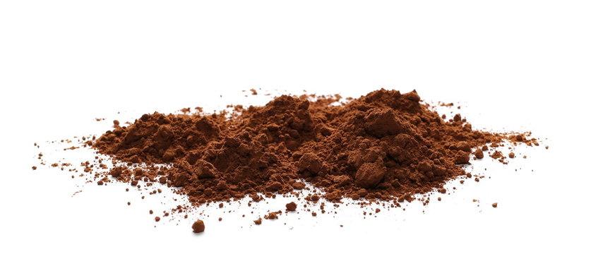 pile cocoa powder isolated on white background