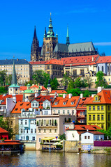 Poster Prague Mala Strana (Lesser Town of Prague) and Prague Castle. Prague, Czech Republic