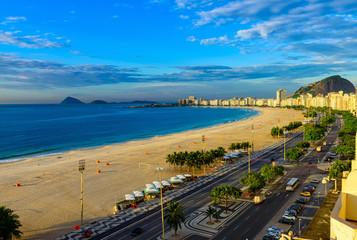 Copacabana beach and Avenida Atlantica in Rio de Janeiro, Brazil